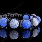 Браслет шамбала из бело-голубого граненого агата