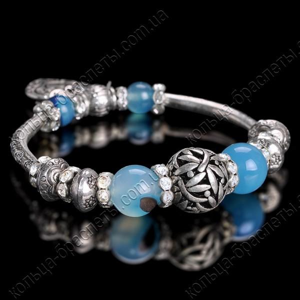 Браслет пандора  с голубыми камнями