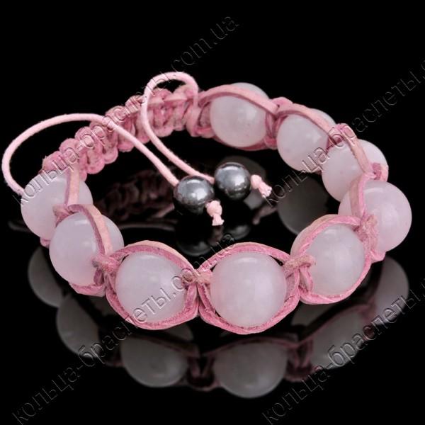 Браслет шамбала из розового кварца в кожаной оплетке