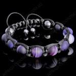 Браслет шамбала из фиолетового агата с разводами
