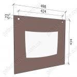 Стекло панорамное 498x434 (3100.11.0.004-04) плиты GEFEST 3100, 3200