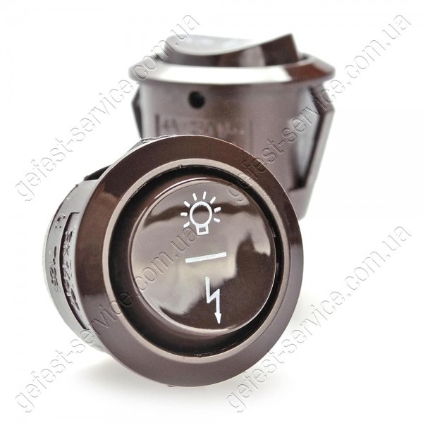Кнопка подсветки и розжига трехпозиционная коричневая плиты GRETA