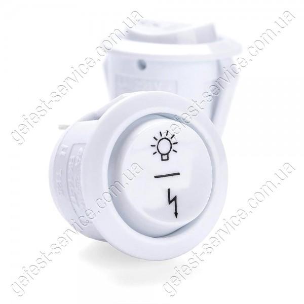 Кнопка подсветки и розжига трехпозиционная белая плиты GRETA