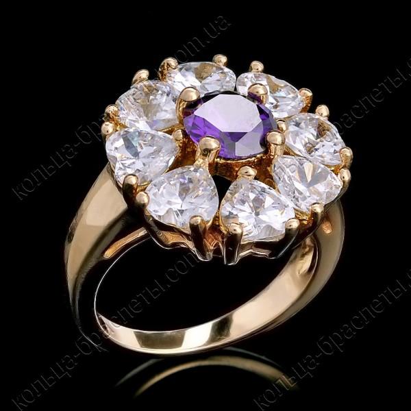 Кольцо позолота цветок из фианитов