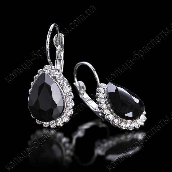 Серьги капли с черным камнем